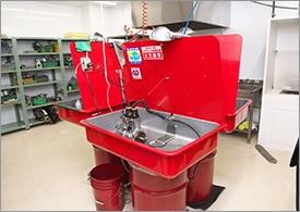 火災安全装置付部品洗浄台